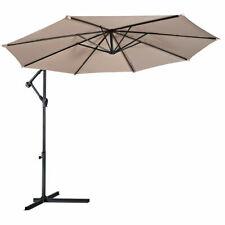 10' Hanging Umbrella Patio Sun Shade Offset Outdoor Market W/ Cross Base Beige
