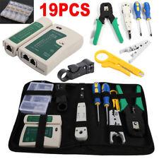 19Pcs Crimp Punch Tool Data Network LAN RJ45 CAT5e RJ11 RJ12 PC Cable Tester Kit