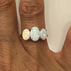 Sterling Silver 3 Oval White Lab Opal Ring, Wedding Ring, Silver Ring