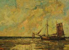 Rudolf PRIEBE (1889-1964) -  grosses Gemälde  SEGELSCHIFF LIEGT IM NORDSEE WATT