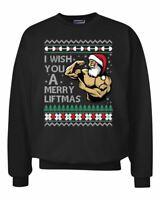 I Wish You a Merry Liftmas Funny Swole Lifting Santa Ugly Christmas Sweater Crew