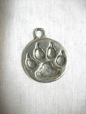 WILD WOLF PAW PRINT WOLF TRACKER SILVER CAST PEWTER PENDANT ADJ CORD NECKLACE