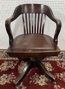 Antique American Roll Top Office Mahogany Desk Chair w/Wheels Swivels Circa 1890