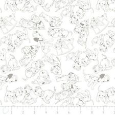 Disney Fabric - 101 Dalmatians Gray Outlines on White - Camelot Cotton YARD