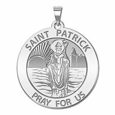 Saint Patrick Religious Medal - 3/4 Inch Size of a Nickel in Sterling Silver