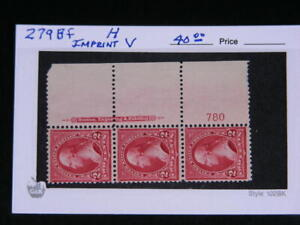 United States Sc.# 279Bf  Washington 2c Plate # 780 Strip of 3  1897   MH   s818