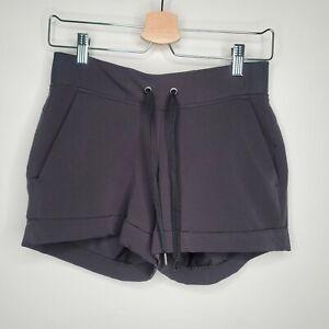 Athleta Womens Black Relaxed Fit Flat Front Elastic Waist Casual Shorts Sz 2
