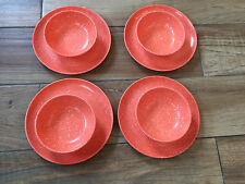 VINTAGE MELAMINE SM BOWL & PLATE MELMAC~MELON CORAL SPECKLED~CONFETTI ~LOT of 8