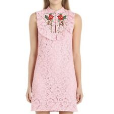 NWT Gucci $2500 IT 44 US 8 Pink Embroidered Rose Cluny Lace SS17 Dress NEW 2017