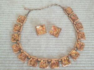 MATISSE RENOIR Vtg Set Necklace Clips Earrings Fall Colors Enamel on Copper
