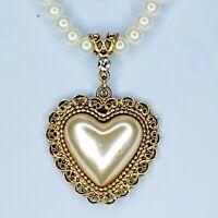 1928 Puffy Heart Pendant Faux Pearl Necklace Gold Tone Rhinestone Barrel Clasp