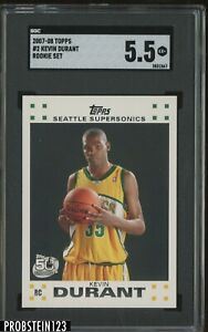 2007-08 Topps #2 Kevin Durant Seattle Supersonics RC Rookie SGC 5.5 EX+