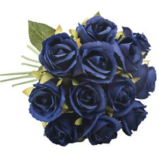 Navy Blue Rose Bud Decorative Synthetic Flowers UK SELLER Faux Silk