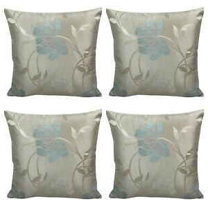 """Set of 4 - Beige / Duck Egg Floral Cushion Covers 18x18"""""""
