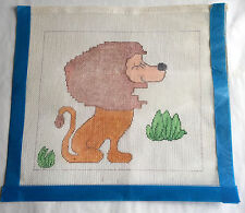 "Hand Painted Canvas Happy Lion Needlepoint  12"" x 10"""