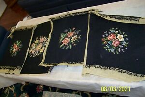 ANTIQUE EMBROIDERED BLACK chair covers (4) different- approx 15 X 16
