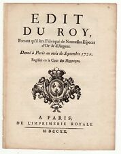1720 EDIT DU ROY on New Coins fabrication, registered in Quebec City, Wroth 828