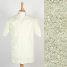 70'S VINTAGE GUAYABERA SHIRT MENS BIG POINTY OPEN COLLAR YELLOW CUBAN LATIN L