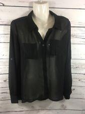 #369- THE ART BY ZENANA  Women's Sz Med Sheer Button Up Blouse Shirt
