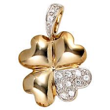 Anhänger Kleeblatt 333 Gold Gelbgold Teilrhodiniert 10 Zirkonia