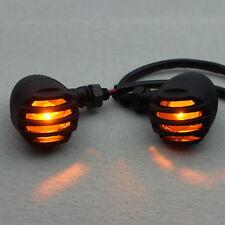 2x Moto Turn Signals Black Bullet Blinker Amber Lens Indicator Lights For Yamaha