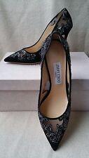 NEW AUTH Jimmy Choo 38.5 8 Karmel Pump Suede Black Crystal Rock Mesh Heels Shoes