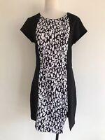 Sportsgirl Size Medium Black & White Animal Print Short Sleeve Pencil Dress