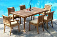 "Giva Grade-A Teak Wood 7pc Dining 94"" Rectangle Table Chair Set Outdoor Patio NW"