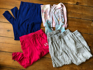 Girls Leggings Jogging Bottoms Blue Grey Frozen Elsa Trousers Bundle 7-8 years