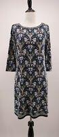Max Studio Small Blue & Tan White Lilly Flower Bird Print Jersey Knit Dress