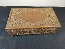 VINTAGE REUGE MUSIC BOX HAND CARVED WOOD MUSICAL JEWELLERY TRINKET WOODEN INDIAN