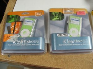 Lot of 2 NOS Griffin iClear Photo Transparent Customizable Case for 2G iPod Nano