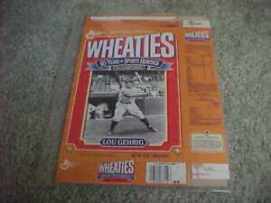 1992 Lou Gehrig New York Yankees Baseball Wheaties Cereal Box