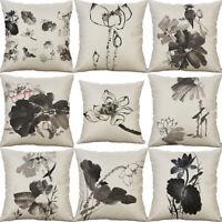 "Flower Cushion Pillow Cotton 18"" Sofa Home Decor painting Case Art Linen Cover"