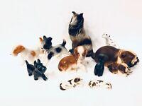 Lot Of 10 Vintage Dog Figurines Bulldog Scottie Terrier Collie & More