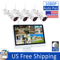 """1080P Wireless Security Camera System 15""""LCD 8CH NVR Outdoor Waterproof 1TB CCTV"""