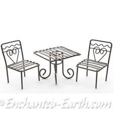NEW FAIRY GARDEN /MINIATURE GARDEN/MINI BROWN METAL BISTRO SET /SQUARE TABLE SET