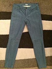 J Crew Toothpick Corduroy Green/Blue Diamond Printed Pants Skinny Ankle Size 27