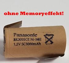 Akku Panasonic Sub-C 3000 mAh 1,2V NiMh Pappmantel mit Z Lötfahne für Werkzeug