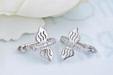 Ohrring Kreole mit Schmetterling 12 mm aus Sterling Silber 925