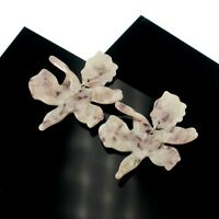 Earrings Nails Silver Big Floral Resin Beige Light Retro AA24