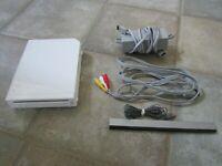TESTED Nintendo Wii White RVL-001 w/ Cables & Sensor Bar NO CONTROLLER (A)