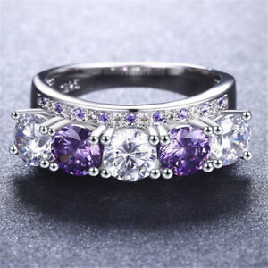 Gorgeous Women Round Cut Amethyst & Cubic Zirconia 925 Silver Ring Size 6-10