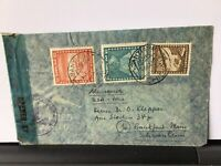 Chile 1947 Censor Airmail stamps cover to Frankfurt  Ref R28296