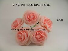 10cm LargeOpen Artificial Foam Rose  PEACH  Colourfast  Wedding Bouquet Display