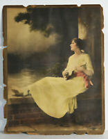 "13"" Antique Victorian Print Young Romantic Woman Playing Small Guitar Love Art"