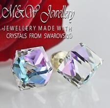 925 Silver Stud Earrings CUBE 8mm Vitrail Light - Crystals From Swarovski®
