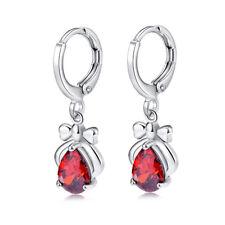 Fashion Lady Teardrop Red Sapphire Silver Rhinestone Draped Earrings Gift