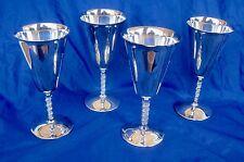 "F.B. Rogers Silverplate Water Goblet F500 Vine Stem 7"" Lot of 4 Yugoslavia B-2"