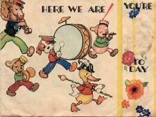 VINTAGE CHILDREN'S FOLDED BIRTHDAY GREETING CARD:  ANIMAL BAND